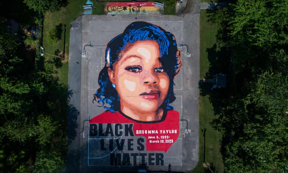 Breonna Taylor mural in Annapolis, Maryland. Taylor was shot at least eight times on 13 March as police executed a so-called no-knock warrant.