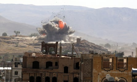 A Saudi-led airstrike on Houthi positions in Sana'a.