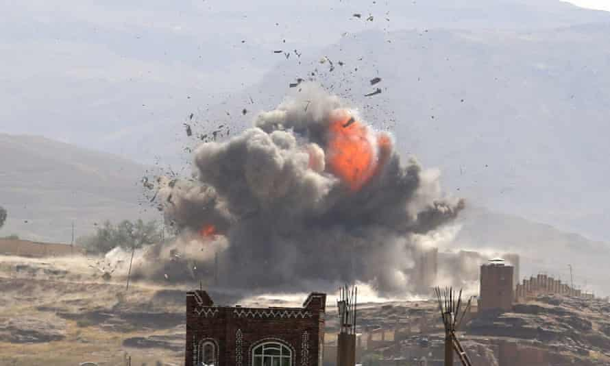 An explosion from an aerial bombardment near Sana'a in Yemen
