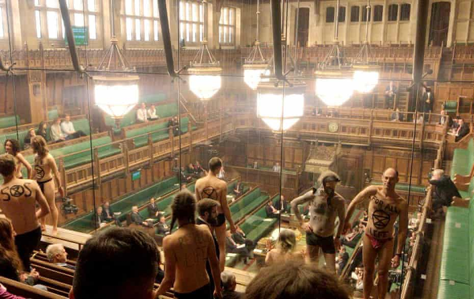 An Extinction Rebellion climate protest in the House of Commons public gallery in April 2019.