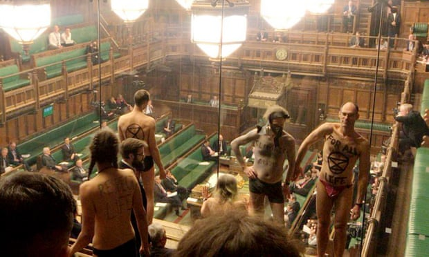 Extinction Rebellion activists stripped off in House of Commons public gallery.