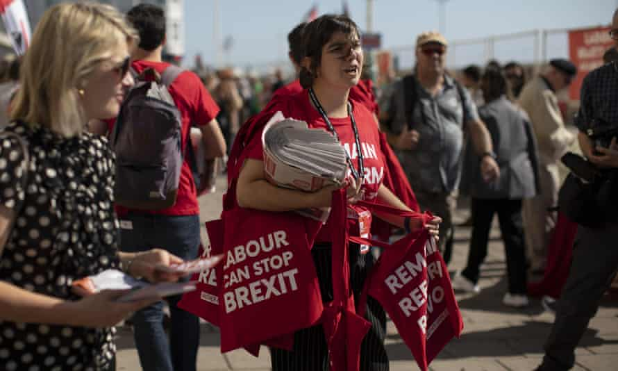 Labour activists hand out bags ahead of the 2019 Labour party conference in Brighton.