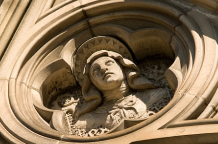 A statue on the exterior of St Patrick's Cathedral