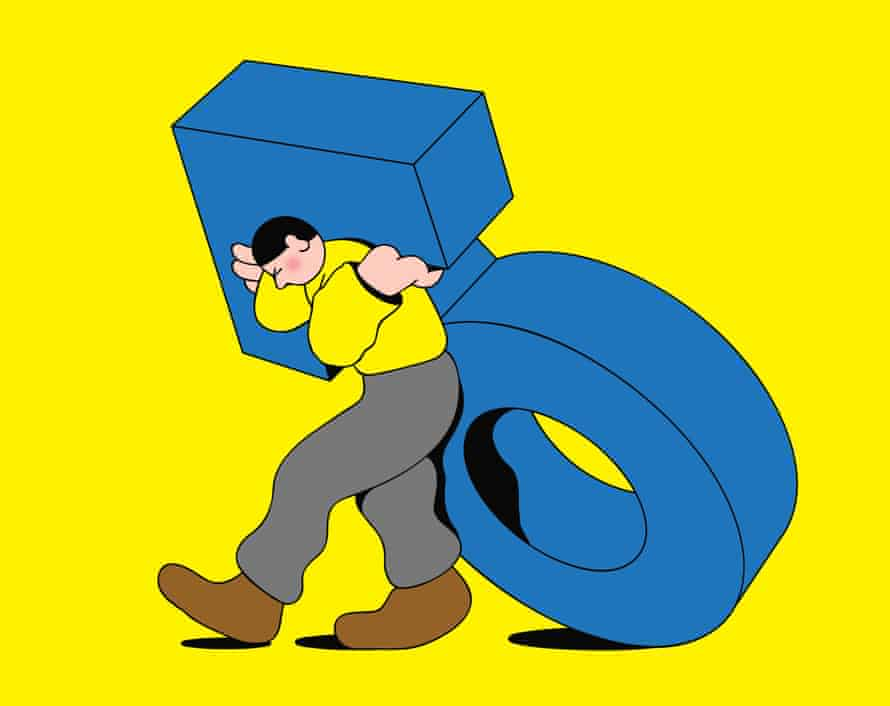 Illustration of a man struggling under the weight of a giant male symbol