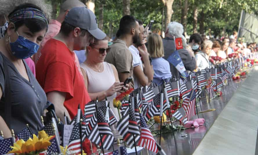 Members of the public visit ground zero during ceremonies marking the 20th anniversary of the attack on New York's twin towers.