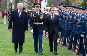Trump and Macron inspect a guard of honour during a welcoming ceremony at the White House