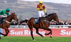 Lizzie Kelly celebrates winning on Siruh Du Lac at the Cheltenham Festival in March.