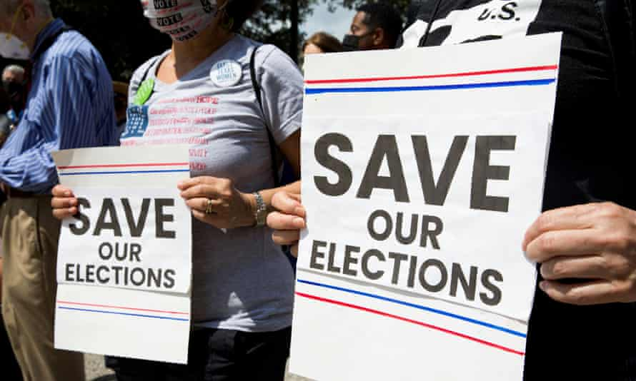 Protesters rally in support of voting rights in Austin on 8 May.