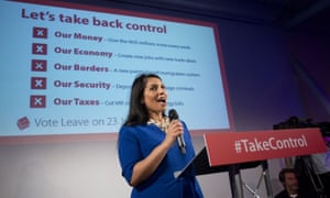 Priti Patel speaking at a Vote Leave rally before the EU referendum.