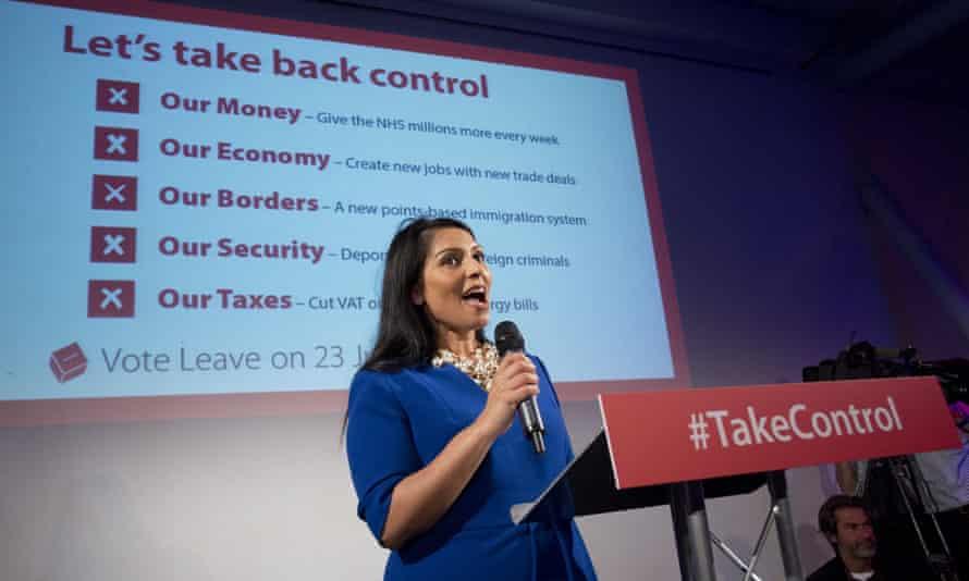 Priti Patel speaking at a Vote Leave rally before the EU referendum.