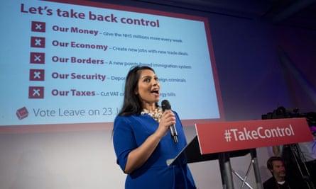 Priti Patel at a Vote Leave event.