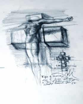 Salvador Dalí Study for Corpus Hypercubus c. 1954