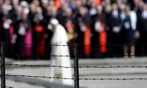 The pope prays at Auschwitz-Birkenau memorial