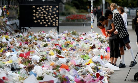 Flowers and tributes left in memory of the attack victims at the Botanical Garden in Christchurch.