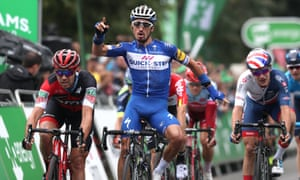 Julian Alaphilippe leads the way home in Bristol