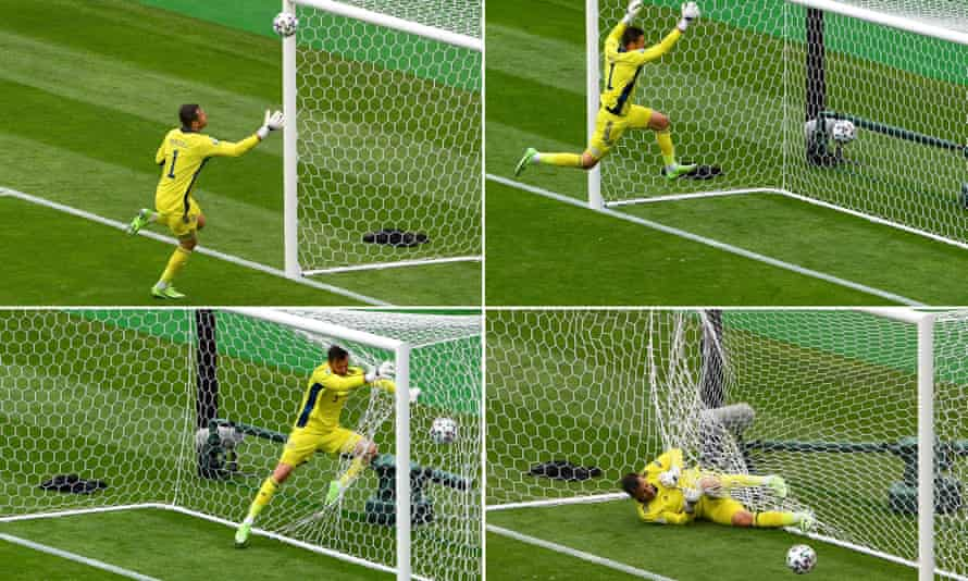 David Marshall fails to get back in time to save Patrik Schick's shot from the halfway line.