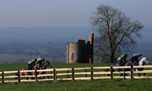 Paul Nicholls' horses working on his Ditcheat gallops on Tuesday.