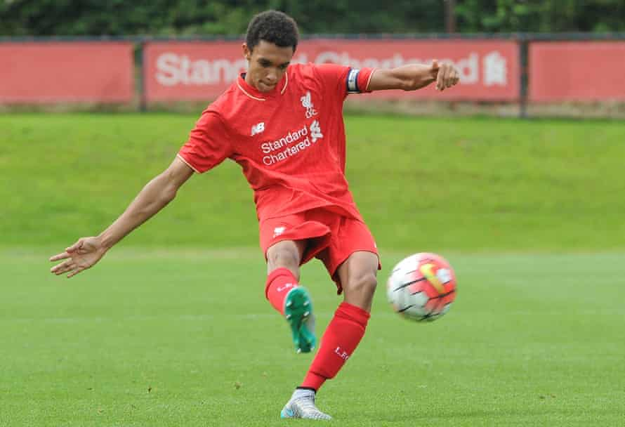Trent Alexander-Arnold playing in an Under-18s game against Blackburn at the age of 16.