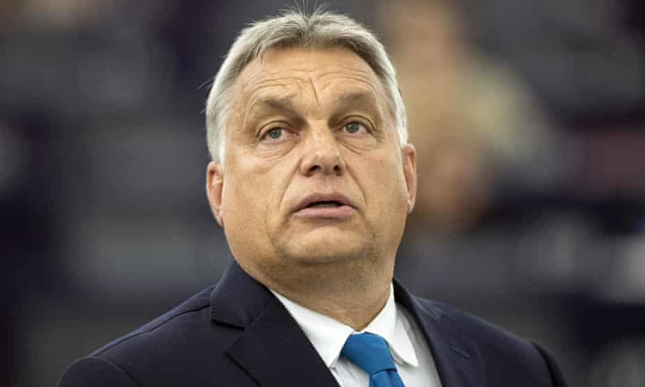Viktor Orbán delivers his speech at the European parliament in Strasbourg on Tuesday.