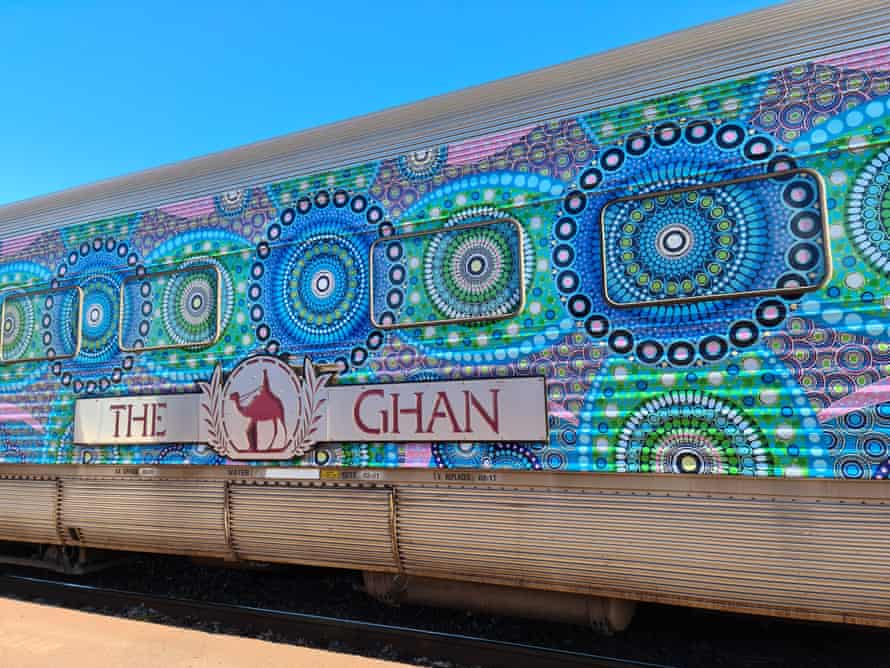 The Ghan train wrapped with 'Crossroads' a work by artist Chantelle Mulladad, of Keringke Arts, commissioned by Parrtjima festival.