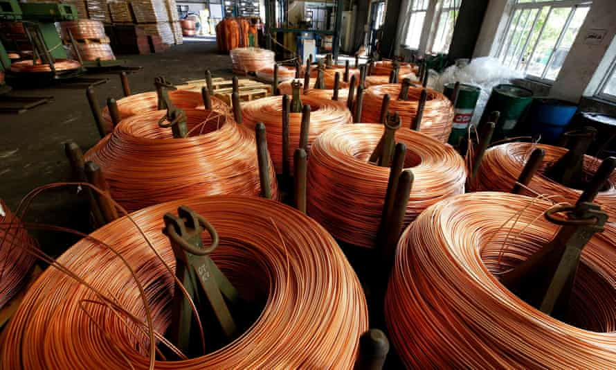 Copper wire at a factory in Vietnam. The price of copper rose to a record $10,700 a tonne last week