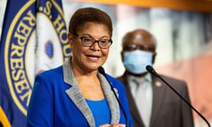 Karen Bass speaks at a press conference about proposed legislation to remove Confederate statues from the US capitol.