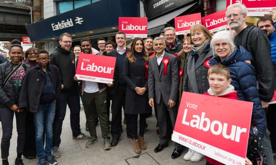 Mayor of London Sadiq Khan campaigns with Labour MPs, candidates and activists in Wandsworth ahead of Thursday's local elections