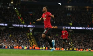 Anthony Martial takes the applause of Man United fans after scoring their second goal against Man City.