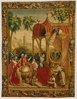 Imaginary European depiction of Jesuit missionaries displaying their astronomy skills to Shunzhi emperor (1644-61) (dressed in red) who needs their assistance in creating a linisolar calendar, Beauvais Manufactory, woven under the direction of Philippe Béhagle c 1697-1705