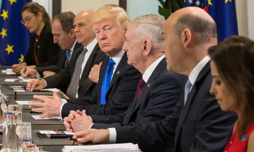 Donald Trump glances at James Mattis during a meeting in Brussels this week.