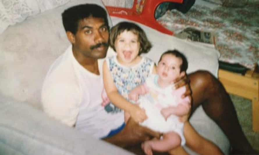 Amy McQuire as a child with her father and her younger sister Hayley