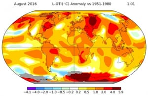 How temperatures across the globe compared to normal during August 2016.