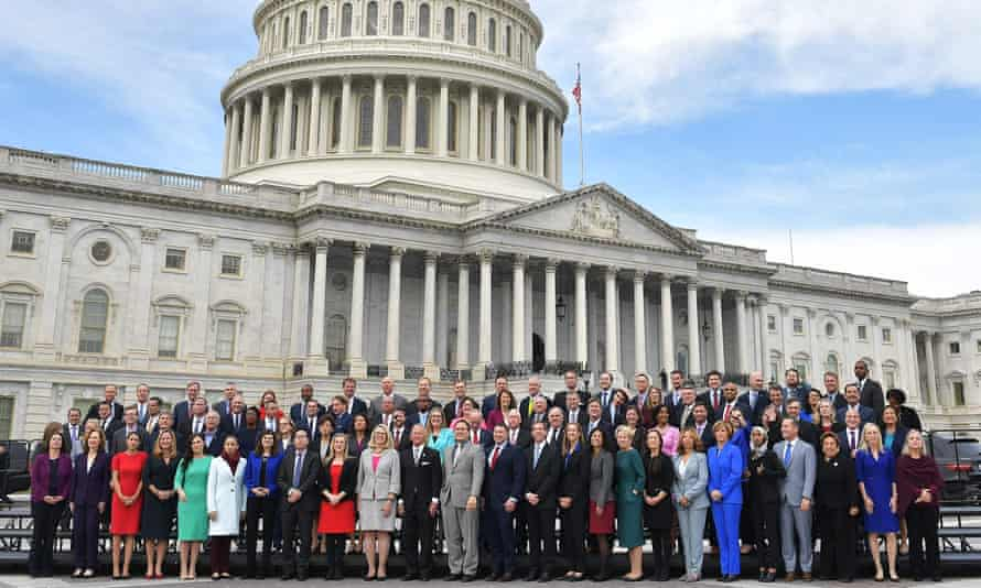 The 116th Congress members-elect pose for a group photo on the East Front Plaza of the US Capitol.