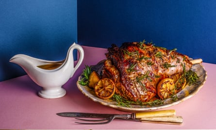 Simon Hopkinson's Rost leg of lamb with anchovy, garlic and rosemary Chosen by Fuchsia Dunlop The Dish I Can't Live Without Food and prop styling: Polly Webb Wilson Observer Food Monthly OFM January 2018
