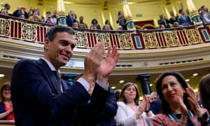 Pedro Sánchez applauds as the Spanish parliament  passes a no-confidence motion in Mariano Rajoy's government last month