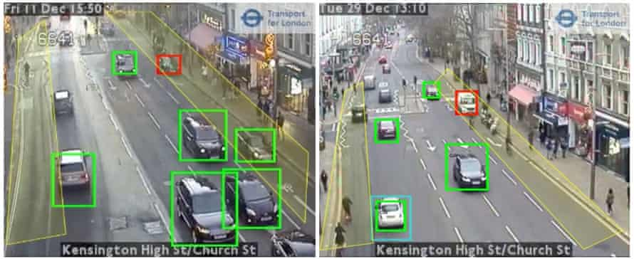 Images from video footage captured by Transport for London traffic cameras