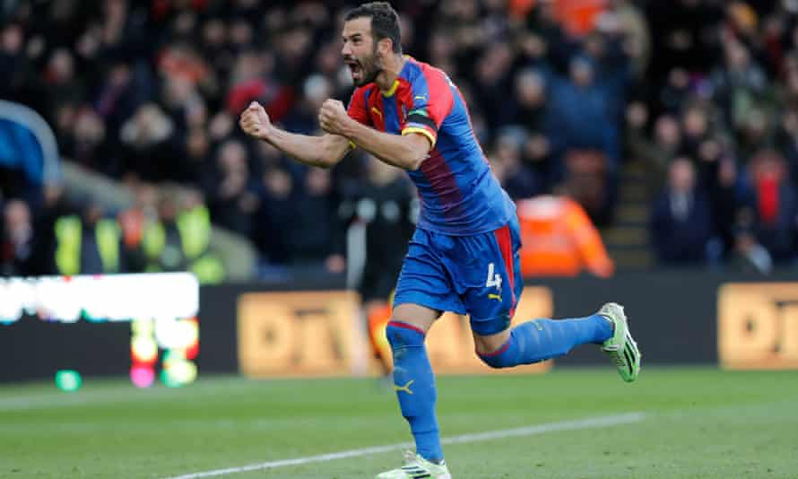 Luka Milivojevic of Crystal Palace celebrates after scoring his side's second goal from the penalty spot.