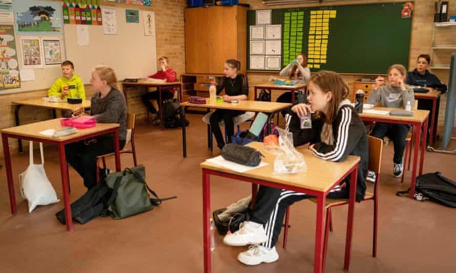 Schoolchildren have their lunch in Randers, Denmark