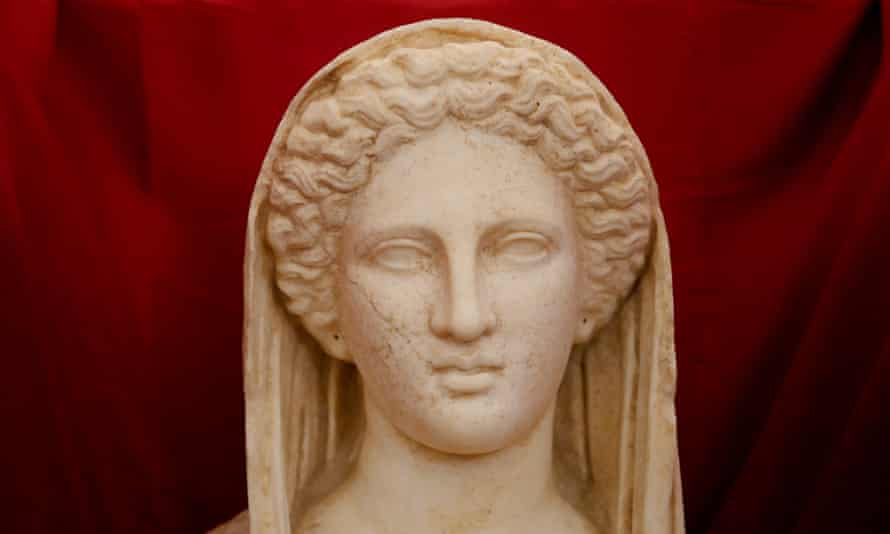 A detail of the rare marble statue, believed to depict the Greek goddess Persophone.