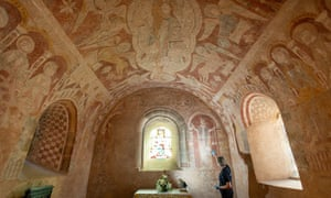 Wall paintings at St Mary's church in Kempley in the Forest of Dean.