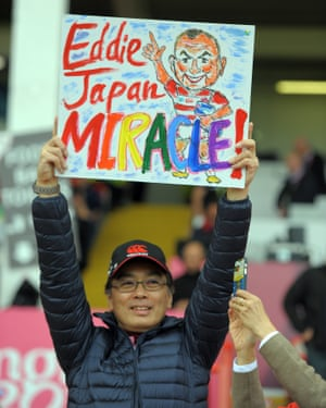 A Japan fan pays tribute to Jones and Japan's win over South Africa.