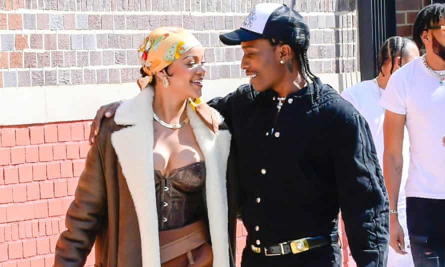 Rihanna, in a corset, with A$AP Rocky in the Bronx, New York City.