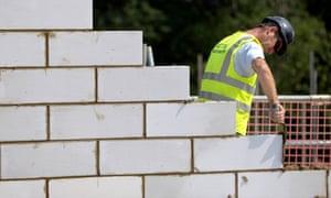 a bricklayer at work