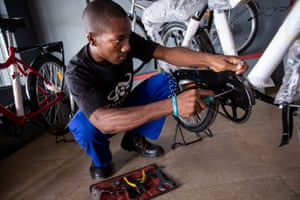 Langford Bwalya is a repair worker for Buffalo Bicycles. 'Some of the customers think that women can't do this job,' says Langford. 'But women can do it too. It helps to support gender equality.'