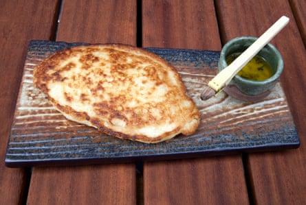 Taka's mochi flatbread with garlic nori butter.