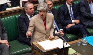 Theresa May addresses MPs after the vote
