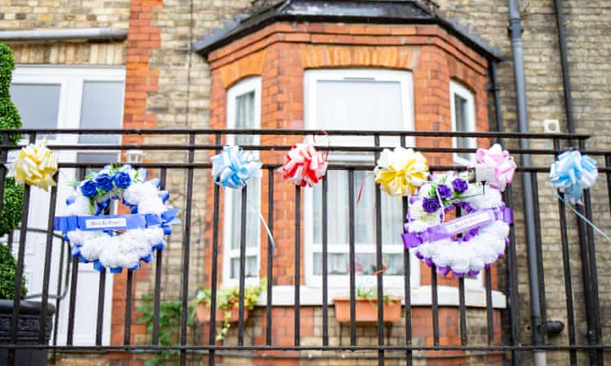 Wreaths outside a care home where seven residents have died of Covid-19.