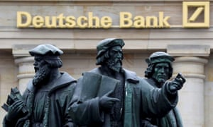 A statue outside Deutsche Bank in Frankfurt, Germany