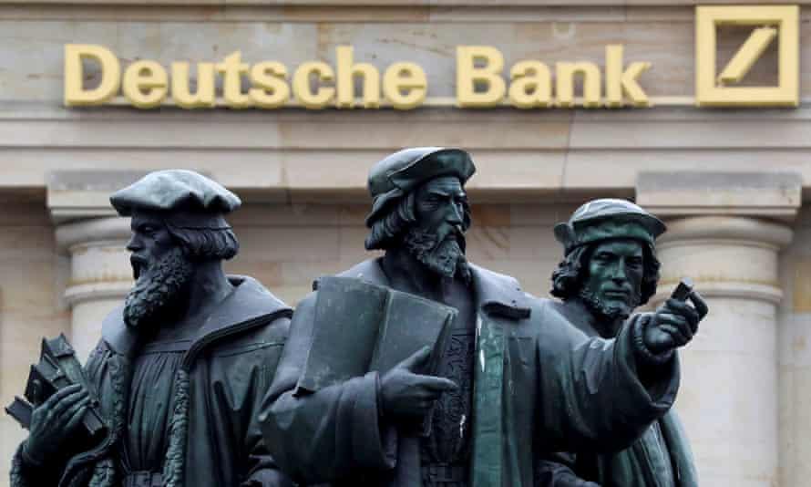 A statue outside Deutsche Bank in Frankfurt, Germany