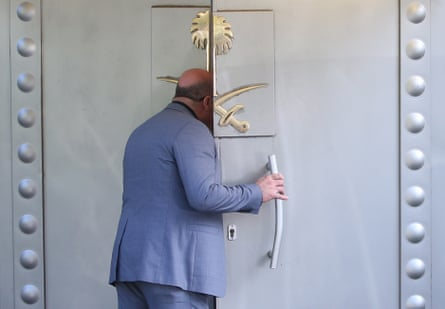 A Saudi official opens a door to the Saudi consulate in Istanbul, Turkey, in October 2018